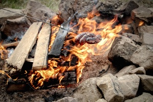 wood, stone, fire, sausage, grill, food, camping, flame, warm
