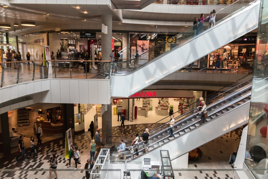 shopping center, people, shop, stairs, building, architecture, fence, boutique