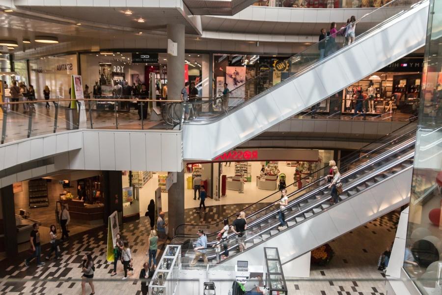 Shopping center, mensen, winkel, trappen, gebouw, architectuur, hek, boutique