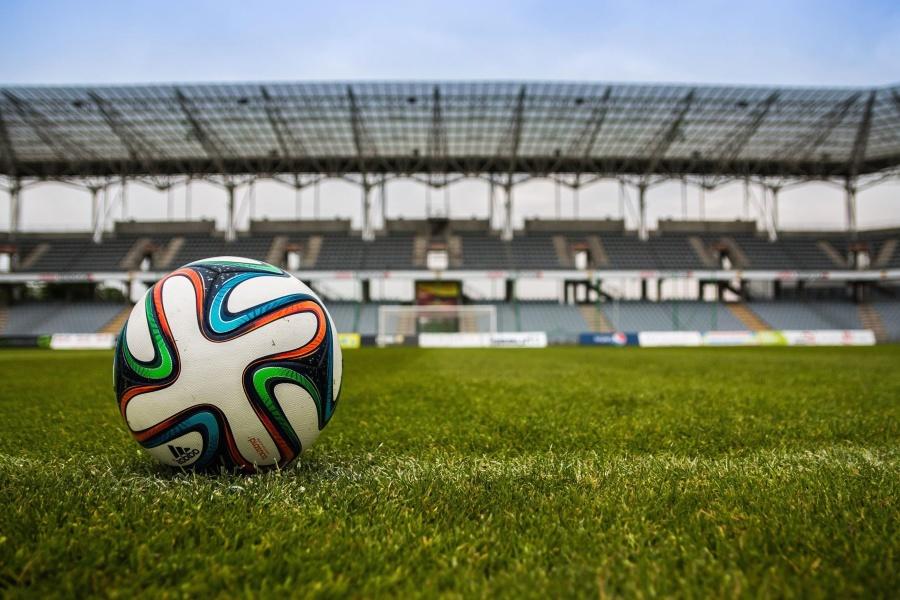 Ball, fußball, stadion, gras, boden, bau, architektur, sport