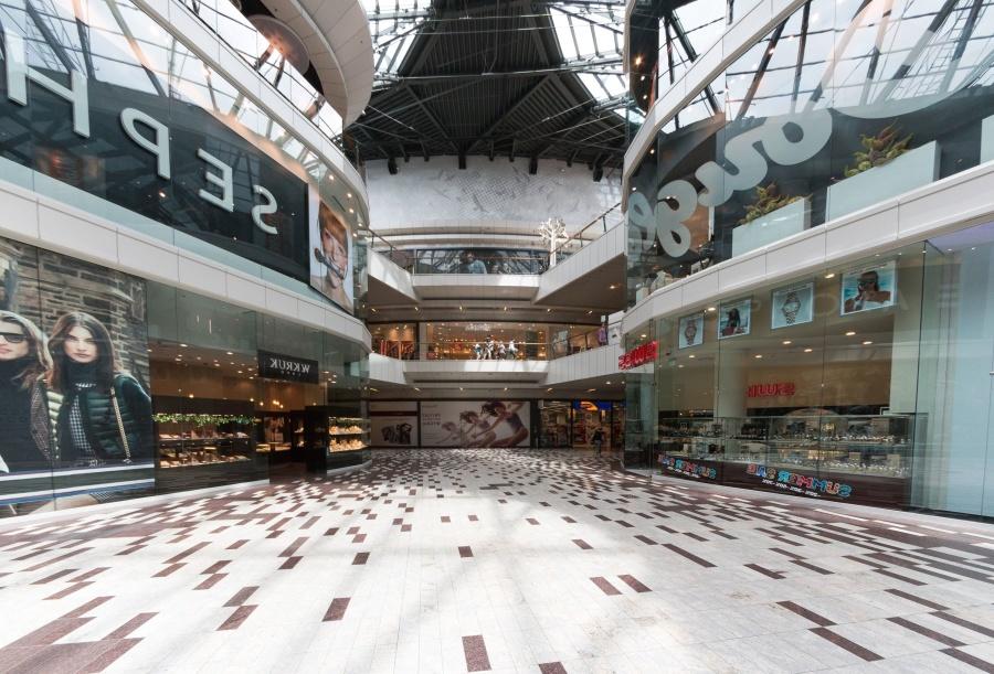soping center, advertising, glass, floor, interior, construction, architecture