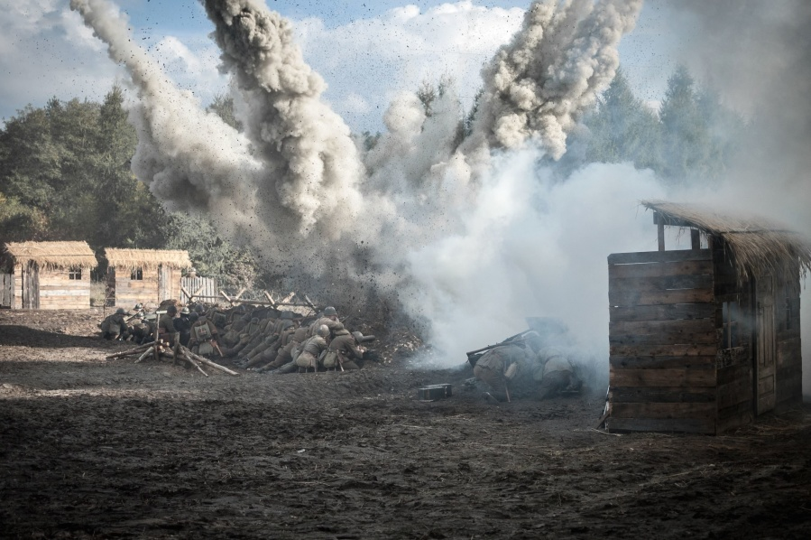smoke, ground, object, forest, explosion