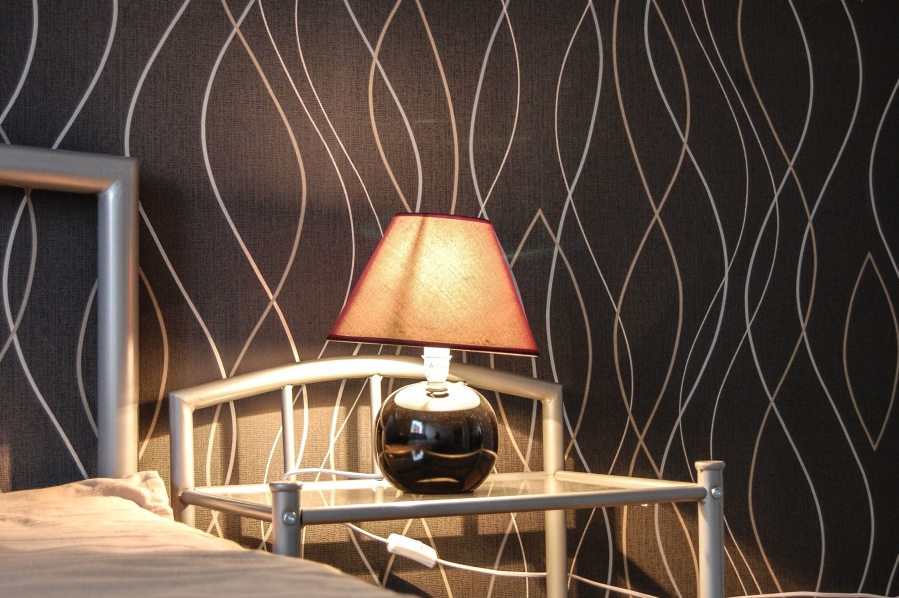 lamp, light, bedroom, bed, shade, glass, symbol, object, furniture, design