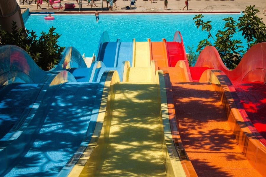water slide, water, pool, summer, attraction, adrenaline, park