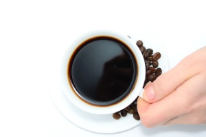 coffee, coffee bean, porcelain, hand, reflection