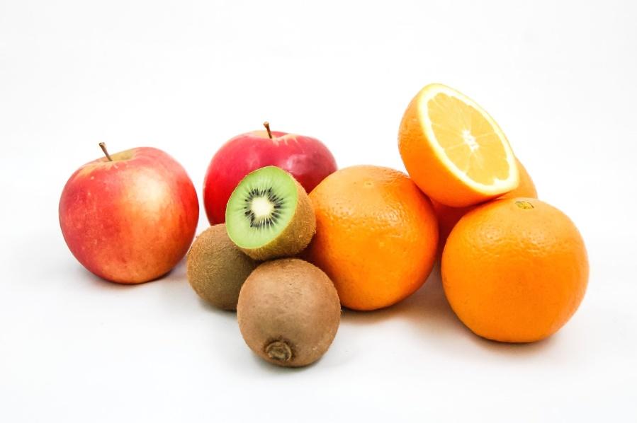 fruit, food, fresh, apple, kiwi, orange, vegetarian, sweet