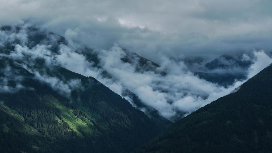 mountain, landscape, peak, sky, travel, cloud, forest, mist