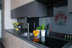 domu, wnętrz, kwiat, owoc, pomarańczowy, palnik, meble, krzesło, kuchnia