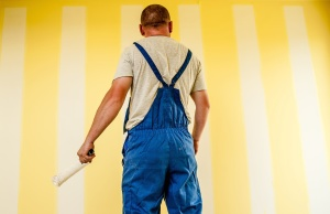 man, trousers, worker, paint, wall, workplace