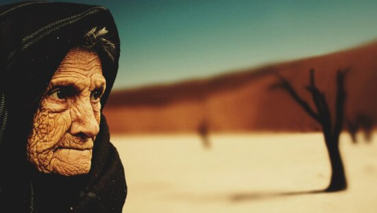 elderly person, grandmother, wrinkle, scarf, eye, tree, desert