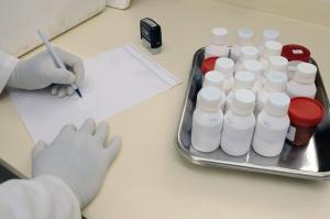 rukavice, čovječe, laboratorij, papir, olovka, kemija