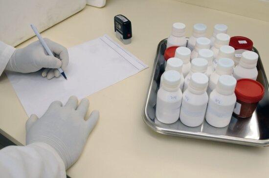 glove, man, laboratory, paper, pencil, chemistry