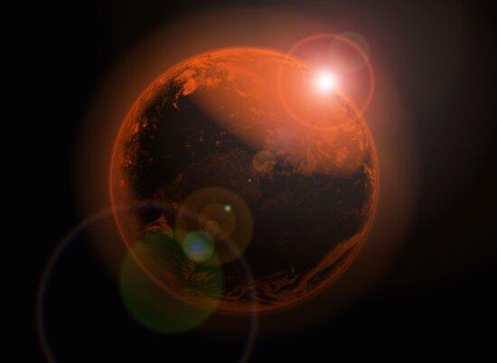 planet, universe, light, Earth, Sun, fantasy, silhouette