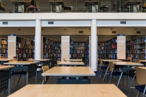library, structure, interior, room, architecture, table, chair