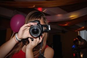 Photographe, caméra photo, fille, instrument, équipement, lentille, appareil