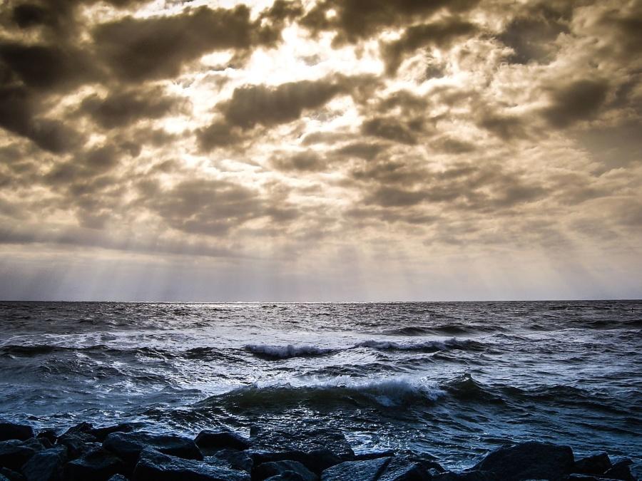 ocean, sea, water, beach, sky, coast, landscape, wave, coastline, Sun