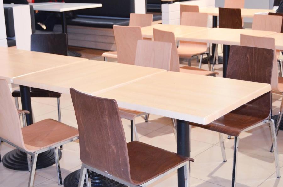 table, furniture, room, interior, modern, chair, desk, restaurant, decor