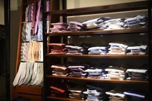 kravaty, košele, textil, elegantné, muž, police, supermarket
