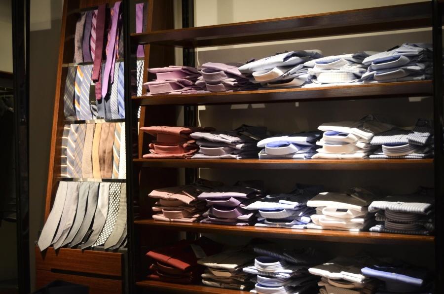 галстук, рубашку, текстиля, элегантный, человек, полка, супермаркет