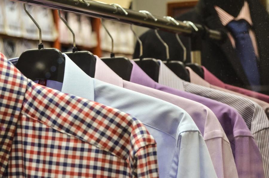 シャツ、ピンク、青、ショップ、ファッション、男性、繊維