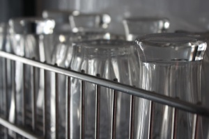 brýle, myčka na nádobí, sklo, objektu, stojan