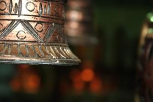 Laiton, métal, cloche, fin, décoration