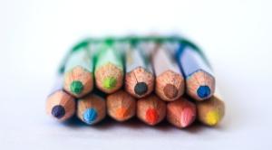färg, penna, färgglada, krita, gul, färg