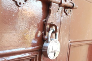 Puerta, cerradura, cerrojo, candado, hierro, acero