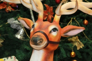 reindeer, christmas, tree, toy, plastic, colorful