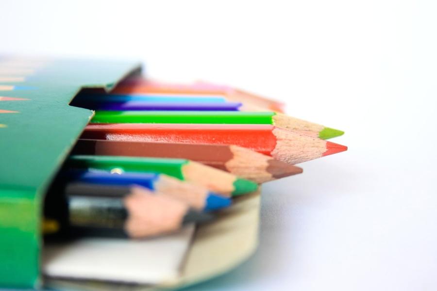 farge blyant boks, stift, kunst