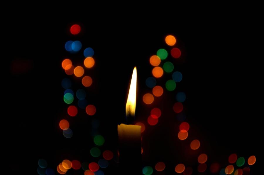 lys, natt, jul, lys, flamme