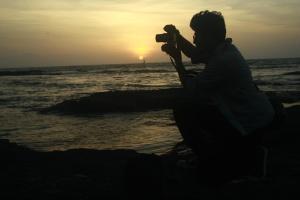 фотограф, захід сонця, море, сонце, Силует, небо, темний