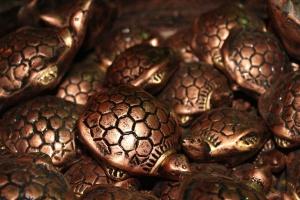 Metall, Schildkröte, Skulptur, Kunst, Cooper