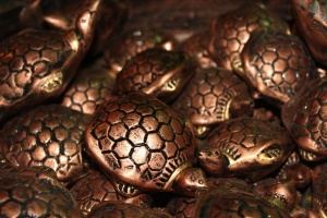 Métal, tortue, sculpture, art, coop