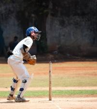 Cricket, action, base, balle, joueur, sport, athlète
