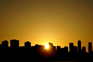 Захід сонця, будівництво, місто, архітектура, міських, міський пейзаж, Силует