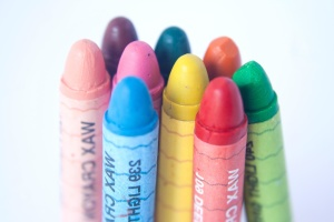 クレヨン、鉛筆、色、黄色、カラフルな教育