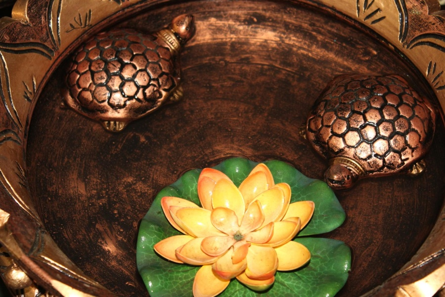 turtle, metal, water, art, decoration, water lily