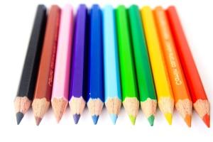 カラー、鉛筆、クレヨン、教育、虹、カラフルです