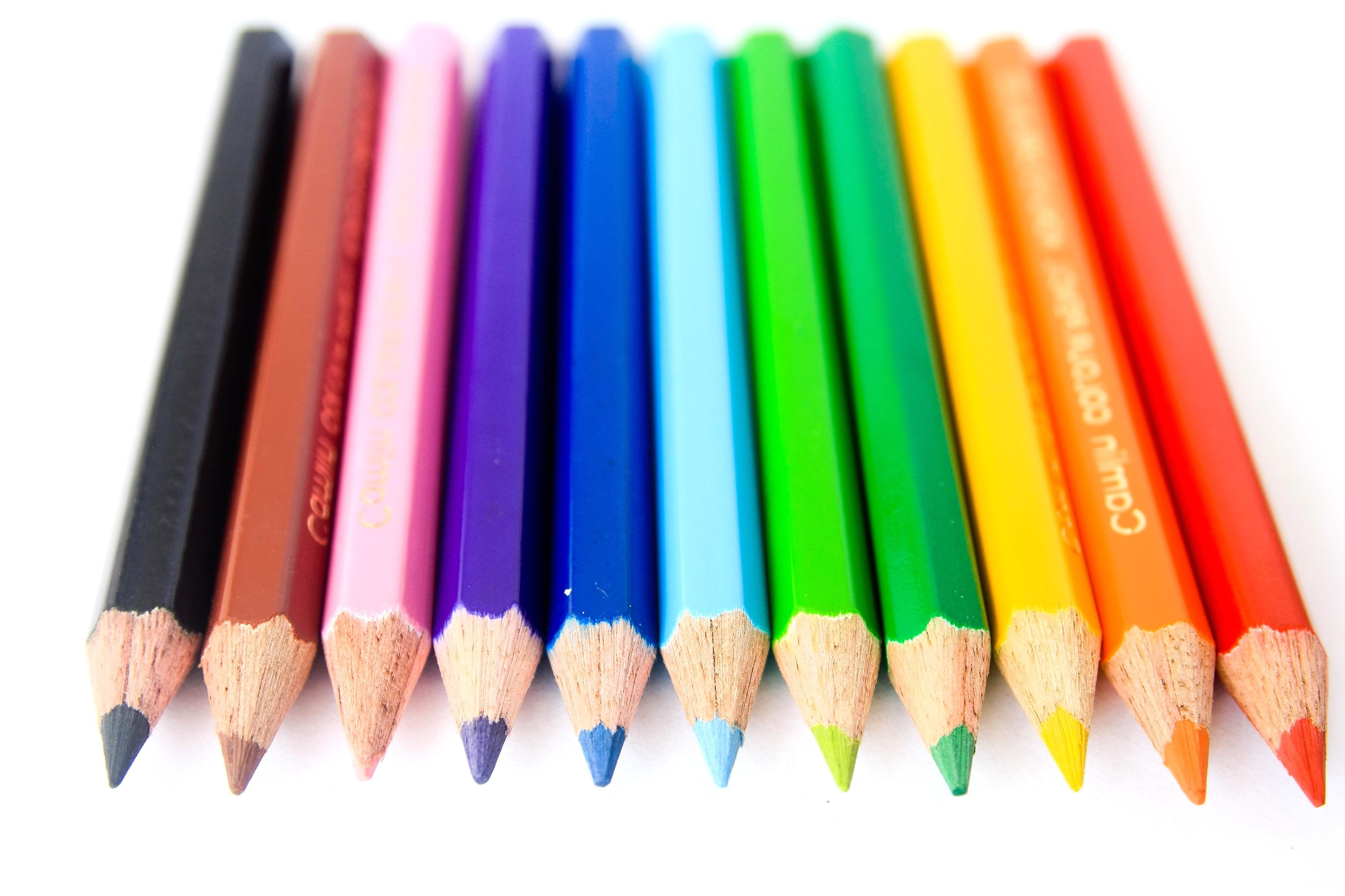 free picture color pencil crayon education rainbow colorful