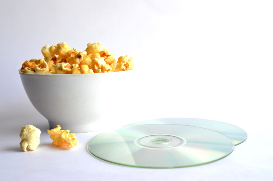 popcorn, movie, disc, entertainment