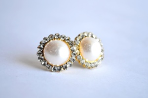 Pearl, náušnice, bílý, šperky, stříbro