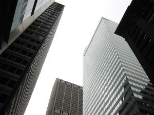 Ciudad, arquitectura, edificio, urbano, vidrio, alto, cielo, céntrico