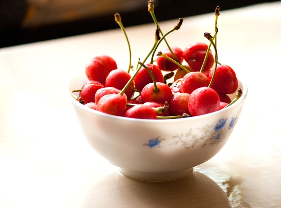 kiraz, meyve, kase, yemek, tatlı, meyve, tatlı