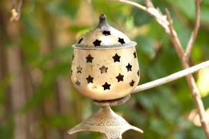 Lampada, lanterna, vecchio, rustico, metallo, decorazione