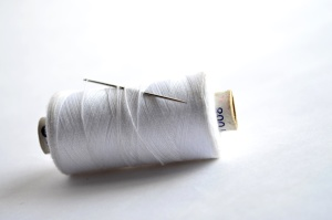 white, sewing thread, sewing needle, steel