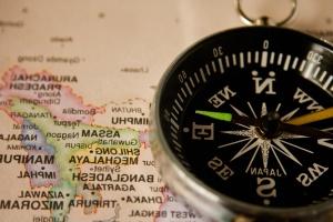 kompass, navigasjon, kart, kompass, instrument, enhet