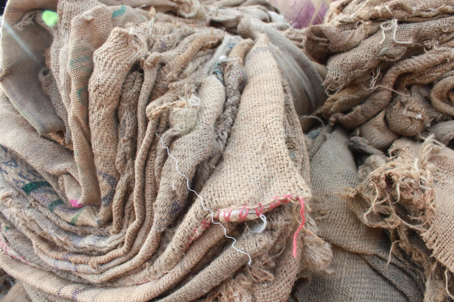 old, jute, sack, rope, textile, fabric