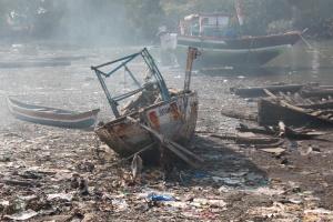 olupina, brod, smeće, obale, smeće, otpad