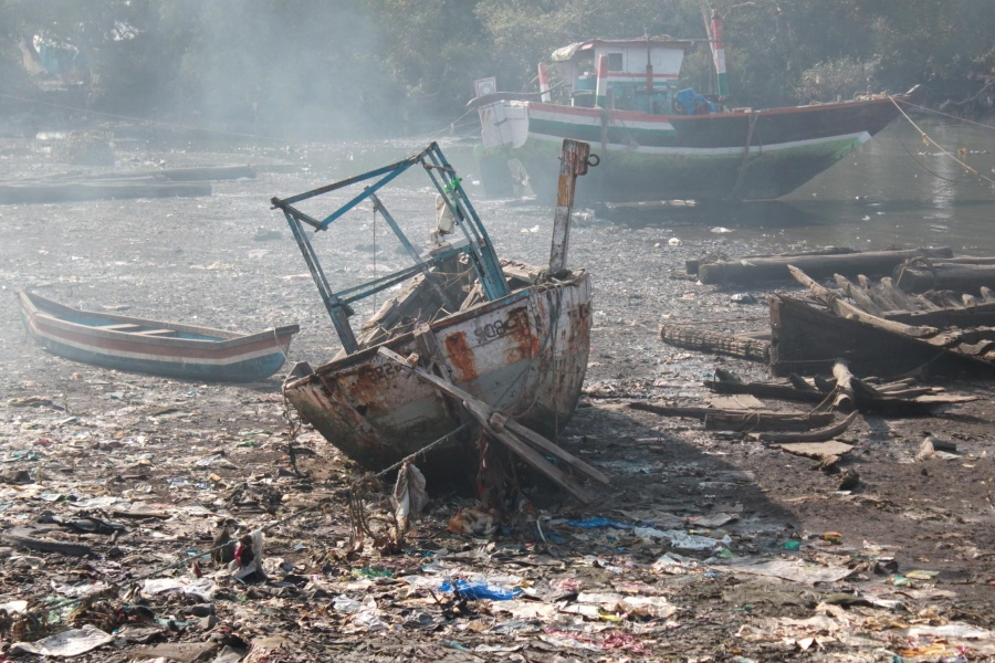 Naufragio, nave, basura, costa, basura, junkyard